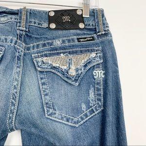 Miss Me Bejeweled Bootcut Flap Pocket Jeans